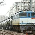 大雨の中EF65 1089牽引の米タンは突き進む