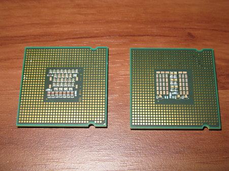 Core 2 Duo E6750(左)&Core 2 Quad Q9550(右)