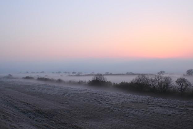 朝霧立ち込める朝