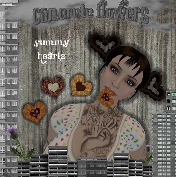 CONCRETE FLOWERS- YUMMY HEARTS SET
