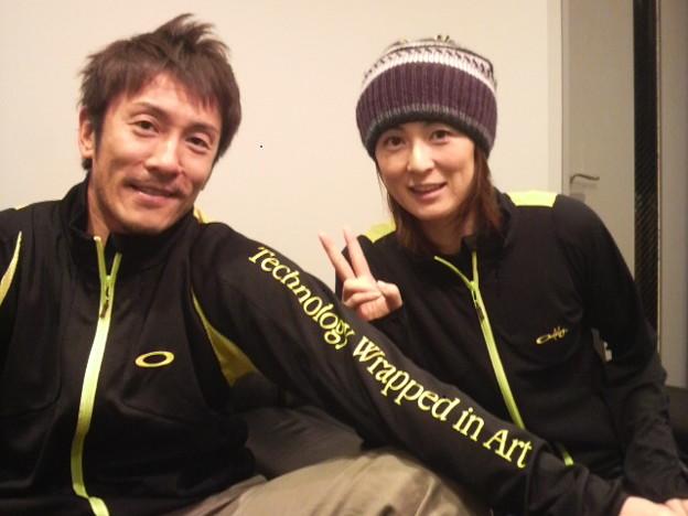 写真: 西村晃一選手と菅山かおる選...